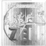 Kalenderbild, das Andreas in der Oberstufe gezeichnet/konzipiert hat und in einem Kalender veröffentlicht wurde.